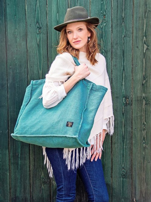 large reusable cotton linen shopper bag in green