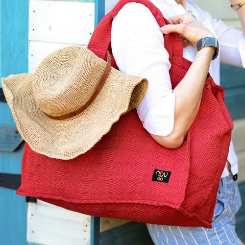 canvas shopper bag in red
