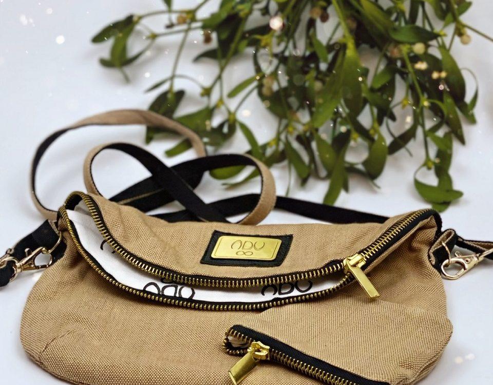 canvas clutch bag under mistletoe