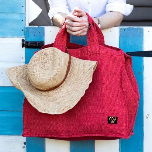 red canvas cotton beach bag