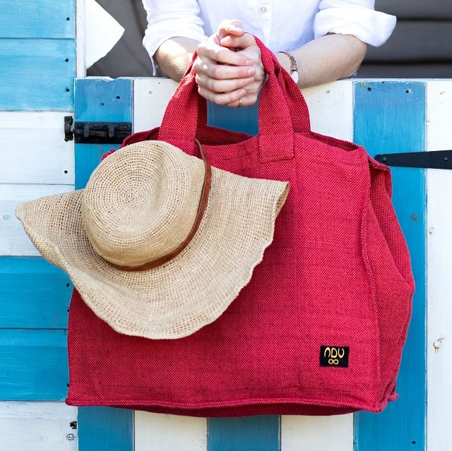 red canvas cotton beach bag