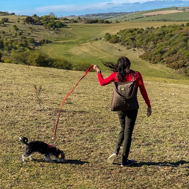 a girl with a canvas backpackwalking a dog on the South Downs