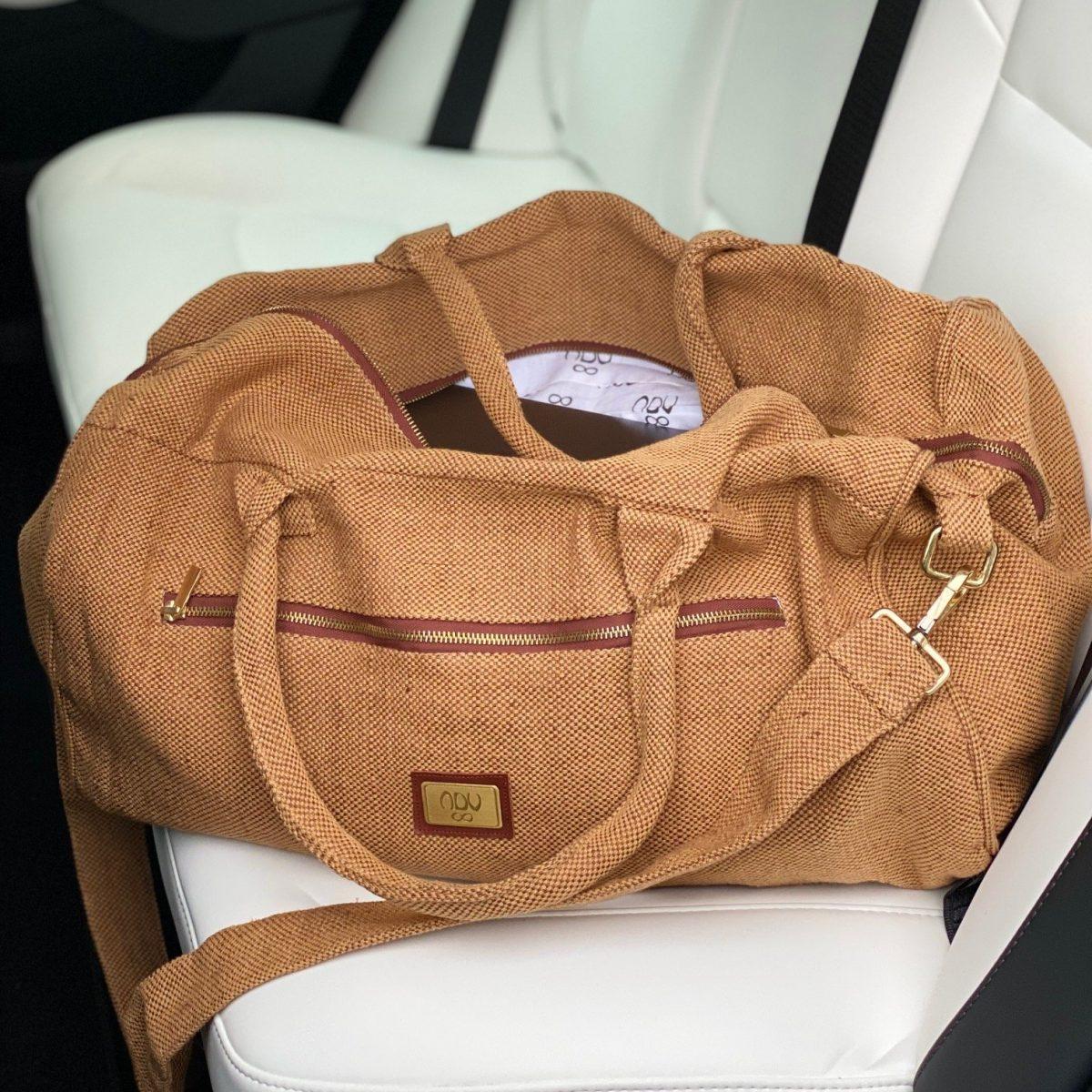 linen organic cotton holdall travel bag