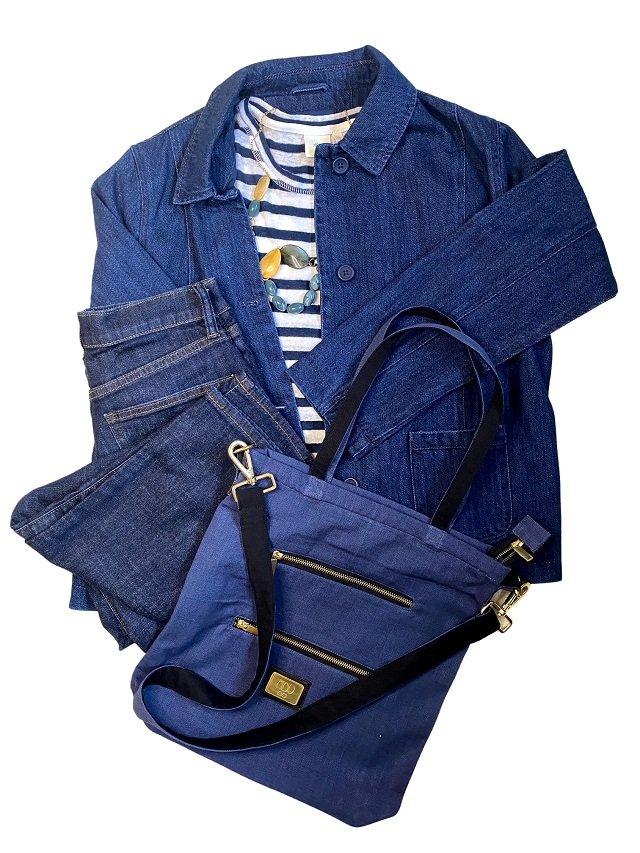 denim look canvas shoulder bag