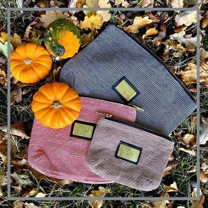 trio of cotton wash bags in stripe design